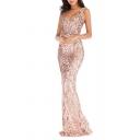 Classic Womens Dress Sequin Sleeveless Floor Length Slim Fitted Deep V Neck Bodycon Swing Dress
