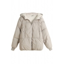 Leisure Women's Coat Solid Color Quilted Ribbed Hem Zip Fly Button Pocket Plushed Hooded Long Sleeves Regular Fitted Down Coat