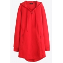 Stylish Women's Hoodie Solid Color Lace up Zip Pocket Drawstring Long-sleeved Relaxed Fit Midi Hooded Sweatshirt