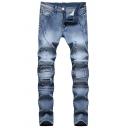 Mens Vintage Style Slim Fit Dark Blue Faded Denim Pants Cool Moto Jeans