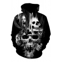 Unique Fire Skull 3D Printed Long Sleeves Baggy Drawstring Hoodie for Guys