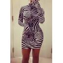 Leisure Women's Bodycon Dress Zebra Stripe Pattern High Neck Long Sleeves Slim Fitted Bodycon Dress