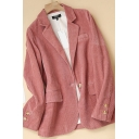 Fashionable Women's Jacket Solid Color Corduroy Flap Pockets Notched Collar Long-sleeved Relaxed Fit Suit Jacket