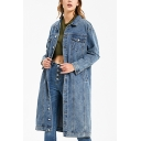 Retro Womens Coat Faded Wash Flap Chest Pockets Button up Turn-down Collar Regular Fit Long Sleeve Mid-Length Denim Coat