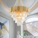 5-Tier Crystal Hanging Chandelier Mid-Century Metal Chandelier Pendant Light in Gold for Indoor
