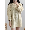 Fancy Sweater Cable Knit Crew Neck Long Sleeves Relaxed Fit Pullover Sweater for Women