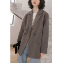 Leisure Women's Suit Jacket Solid Color Flap Pockets Button-down Notched Collar Long-sleeved Relaxed Fit Suit Jacket