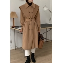 Fancy Women's Coat Solid Color Double-Breasted Belted Spread Collar Long Sleeves Regular Fitted Woolen Coat