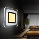 Square Acrylic Flush Mount Wall Light Minimal White LED Sconce Lighting in Warm/White Light