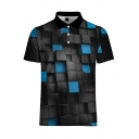 Summer New Trendy Classic Plaid Pattern Short Sleeve Lapel Collar Polo Shirt For Men