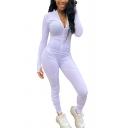 Womens Jumpsuit Trendy Plain Split Hem Finger Holes Invisible Zipper Front Long Sleeve Mock Neck Skinny Fitted Jumpsuit