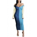 Vintage Womens Dress Contrast Panel Rib Knitted Maxi Slim Fitted Long Sleeve off Shoulder Bodycon Dress