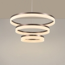 1/2/3-Layer Ring Bedroom Drop Pendant Acrylic Simplicity LED Chandelier Lighting in Brown