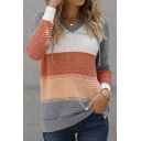Womens Sweater Chic Color Block Stripe Pattern Regular Fitted V Neck Long Raglan Sleeve Knitted Hoodie