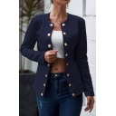 Basic Womens Jacket Solid Color Button Decoration Open Front Long Sleeve Lapel Collar Slim Fit Suit Jacket