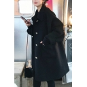 Classic Women's Woolen Coat Button-down Front Pocket Turn-down Collar Long Sleeves Relaxed Fit Woolen Coat