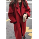 Casual Women's Woolen Coat Solid Color Single Breasted Side Pocket Long Slitted Cuffs Notched Collar Relaxed Fit Woolen Coat