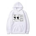Retro Women's Hoodie Cartoon Figure Pattern Kangaroo Pocket Ribbed Trim Long Sleeves Drawstring Hooded Sweatshirt