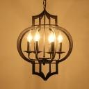 Vintage Lantern Hanging Light 6 Bulbs Iron Chandelier Light Fixture in Black for Restaurant