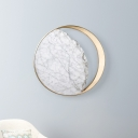 White and Gold Moon Eclipse Sconce Postmodern 1 Light Marble Flush Mount Wall Light for Living Room