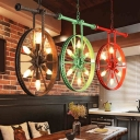 6 Lights Wheel Chandelier Pendant Loft Style Black/Red/Rust Iron Suspended Lighting Fixture