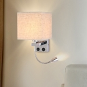 Square Wall Lighting Modernism Fabric Single Beige/White/Coffee Sconce with Spotlight and USB Charging Port
