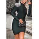 Fancy Women's Bodycon Dress Beading Tassel Detailed Backless Solid Color Mock Neck Long Sleeves Fitted Short Bodycon Dress