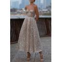 Elegant Women's Strapless Dress Glitter Design Sleeveless Zipper Back Regular Fitted A-Line Strapless Dress