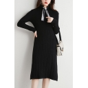 Retro Women's Sweater Dress Solid Color Ribbed Knit Tie Front Mock Neck Long Sleeves Slim Fitted Midi Sweater Dress