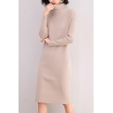 Elegant Women's Sweater Dress Rib Knit Solid Color Turtleneck Long Sleeves Regular Fitted Sweater Dress