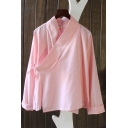 Retro Womens Bottoming Shirt Solid Color Cotton Linen Tie Side Wrap Front Loose Fit Long Sleeve Stand Collar Zen Shirt