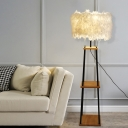 Feather Dome/Drum Floor Standing Light Nordic 1-Light Grey/White Floor Lamp with 2-Tier Wood Rack