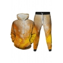 Mens 3D Co-ords Stylish Beer Barrel Letter Print Slim Fitted 7/8 Length Tapered Pants Long Sleeve Hoodie Jogger Co-ords