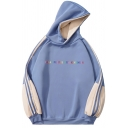 Retro Mens Hoodie Contrast Side Panel Letter Treat People with Kindness Print Loose Fit Long Sleeve Hoodie