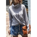 Trendy Sweater Solid Color Twist Detail High Neck Long-sleeved Regular Fit Pullover Sweater for Women