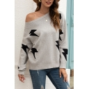 Leisure Women's Sweater Lightning Bolt Pattern off the Shoulder Rib-Knitted Trim Long-sleeved Regular Fit Pullover Sweater