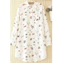 Unique Womens Shirt Doodle Cartoon Cat Plane Tree Figure Print Spread Collar Button Detail Tunic Loose Fit Long Sleeve Shirt