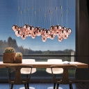 Minimalism 3-Light Pendant Lamp Chrome Bubble Multiple Hanging Light with Clear Glass Shade