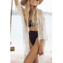 Womens Jacket Chic Embroidered Lace Open Front 3/4 Sleeve Mid-Length Loose Fitted Cover-up Beach Jacket