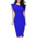 Womens Dress Stylish Solid Color Ruffle Detail Knee Length Slim Fitted Round Neck Cap Butterfly Sleeve Bodycon Dress