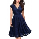 Classic Womens Dress Lace Scalloped Knee Length A-Line Slim Fitted V Neck Cap Sleeve Swing Dress