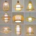 Pear/Cone/Hemisphere Bamboo Pendant Lamp Chinese Style 1 Head Beige Ceiling Suspension Lamp for Dining Room