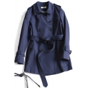 Stylish Women's Trench Coat Solid Color Double-Breasted Belted Side Pockets Button Detailed Turn-down Collar Long Sleeves Regular Fitted Coat