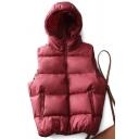 Elegant Women's Vest Solid Color Side Pocket Detailed Zip Closure Sleeveless Hooded Down Vest