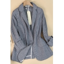 Cozy Women's Jacket Horizontal Stripe Pattern Cotton and Linen Flap Pockets Button-down Long-sleeved Regular Fitted Suit Jacket