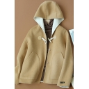 Novelty Womens Coat Plain Double-Sided Woollen Toggle-Button Cropped Loose Fit Long Sleeve Hooded Wool Coat