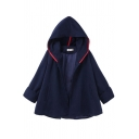 Womens Coat Trendy Pockets One-Button Long Sleeve Loose Fitted Woollen Poncho