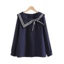 Elegant Womens Blouse Contrast Stripe Pattern Sailor Collar Long Sleeves Regular Fitted Blouse Shirt