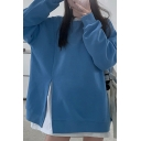 Casual Womens Sweatshirt Side Slit Round Neck Long Sleeves Relaxed Fit Loose Fit Pullover Sweatshirt