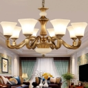 Squared Bell Bedroom Chandelier Vintage Opaline Frosted Glass 3/6 Bulbs Brass Hanging Lamp